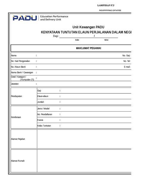 007 Excel Kenyataan Tuntutan Elaun Perjalanan Dalam Negeri
