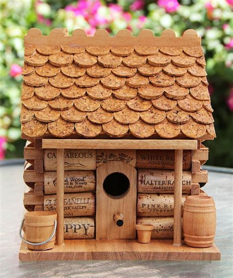 maisonnette bois 1296 log cabin birdhouse wood and wine corks getting