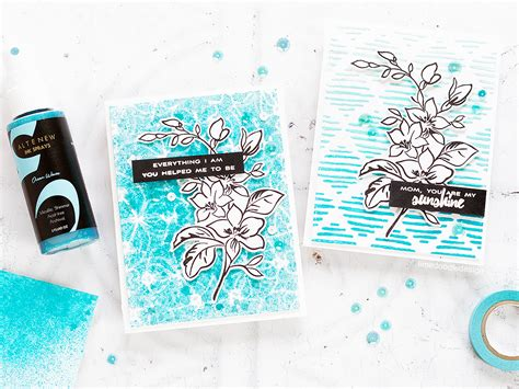 how to use stencils on doodle buddy altenew stencils ink sprays release hop giveaway