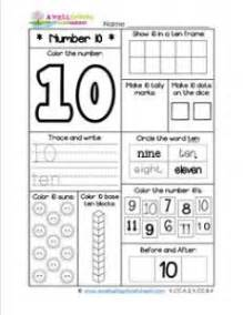 number worksheets for kindergarten number 10 worksheet