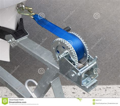 boat winch photos boat trailer winch with blue rope stock photo image
