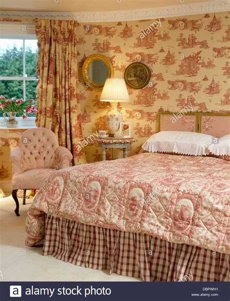 toile wallpaper bedroom pink toile de jouy curtains and matching wallpaper in