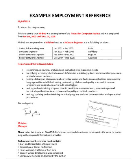 Reference Letter From Employer Australia sle employment letter for australian best free