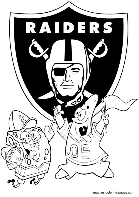 spongebob nfl coloring pages oakland raiders spongebob playing football free printable