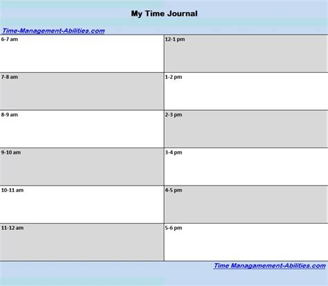 printable time journal printable planners download for effective time management