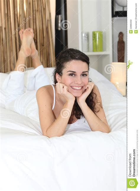 i laid in bed laid on the bed woman laid on a bed stock photo image of