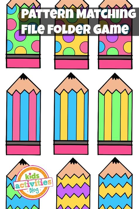 free pattern games online pattern matching free printable file folder game for