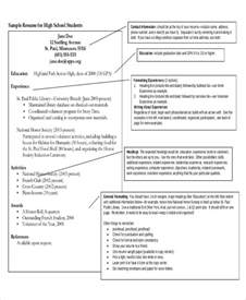 Resumes Templates For High School Students by Sle High School Student Resume 8 Exles In Word Pdf
