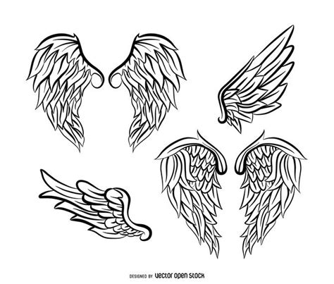 angel wings illustration pack with feathers vector download