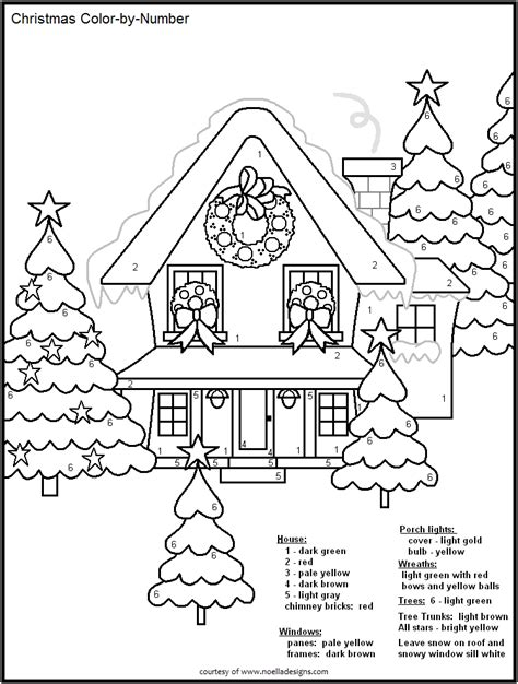 coloring pages free printable christmas color by number