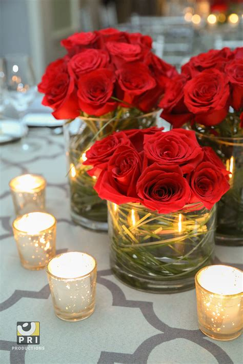 Classic Red Rose Centerpieces And Antique Silver Votive Roses Centerpiece