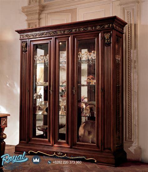 lemari hias kayu jati klasik gostinaya ukir jepara terbaru royal furniture indonesia
