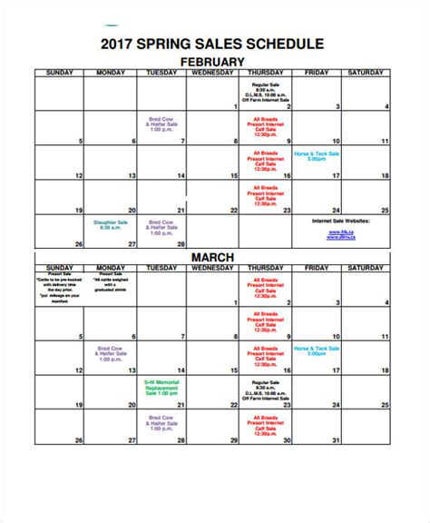 sales calendar templates  sample  format   premium templates