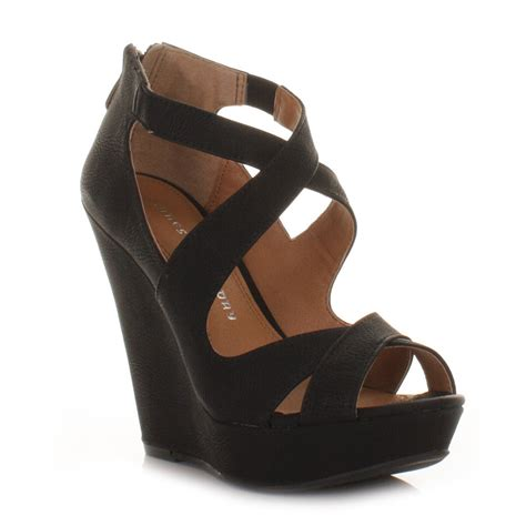 womens black laundry motion cross strappy wedge
