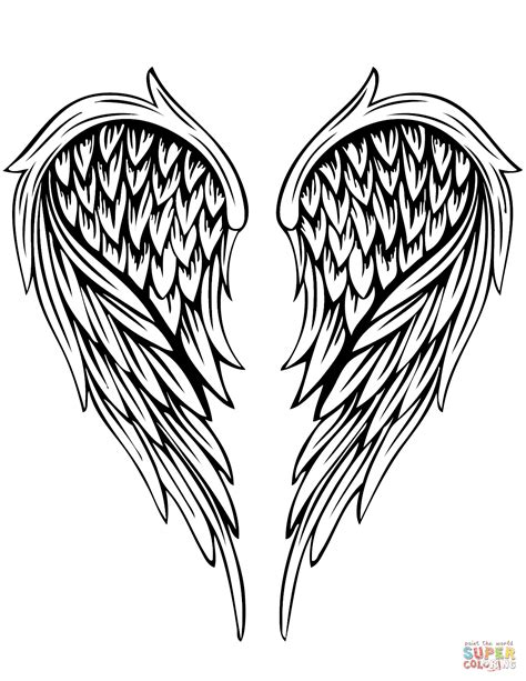 coloring pages of angels with wings angel wings tattoo coloring page free printable coloring