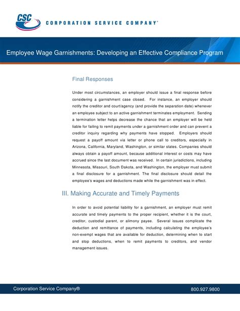 Response Letter To Garnishment Employee Wage Garnishments Developing An Effective Compliance Program