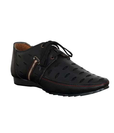 buy adjoin steps black leather designer casual shoes for