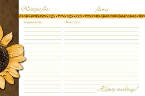 4x6 recipe card template sunflower recipe card