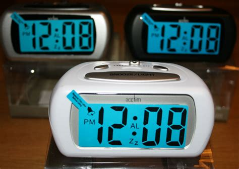acctim auric battery alarm clock with lcd display blue backlight and snooze ebay
