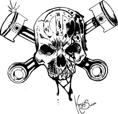 skull and piston tattoos skull and cross pistons by 76bev illst slabs