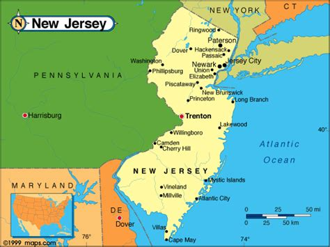 map of new jersey and new york new jersey map