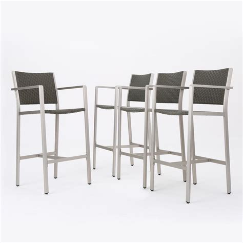 Bar Stools 4 Pack by Noble House Valentina Wicker Outdoor Bar Stool 4 Pack