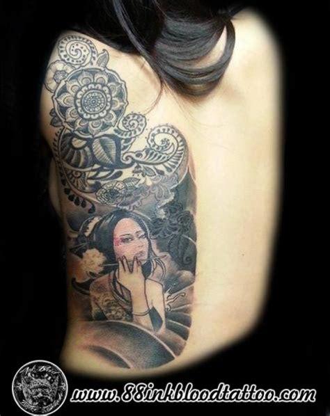 tattoo geisha schiena tatuaje espalda geisha por 88ink blood tattoo studio