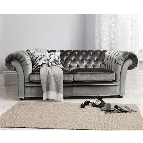 grey velvet chesterfield sofa sarina sofa in grey by gallery homewares sumptuous
