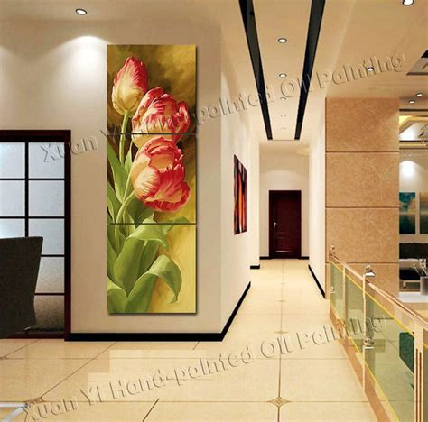 home decor wall painting flower canvas painting cuadros aliexpress com buy 3 panel modern printed tulip flower