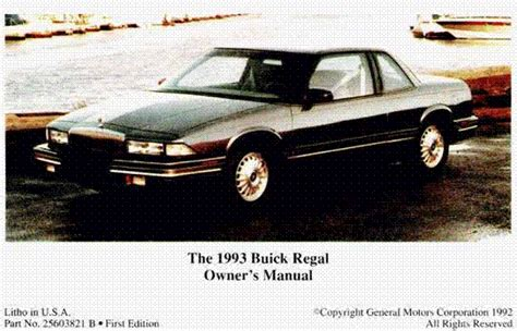 car repair manuals online pdf 1999 buick regal spare parts catalogs free owner manual january 2011