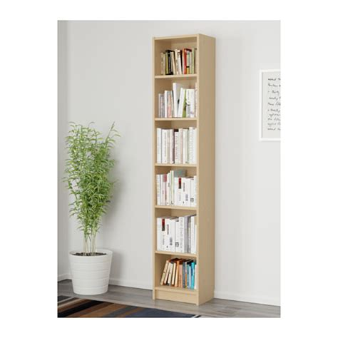 Narrow Billy Bookcase Billy Bookcase Birch Veneer 40x28x202 Cm Ikea