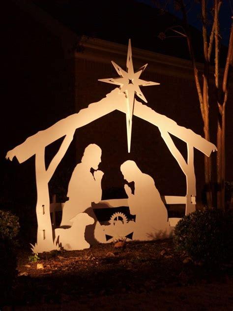 large outdoor nativity set  soft flood light