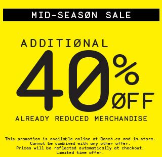 bench canada sale bench canada mid season sale save an additional 40 off already reduced merchandise
