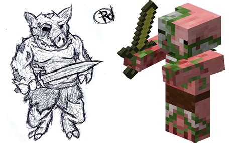 gallery for gt minecraft zombie pigman drawing