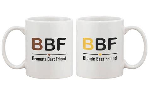 Amazon.com: Cute Matching Coffee Mugs for Best Friends   Brunette Best Friend and Blonde Best