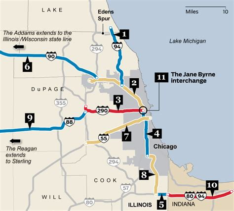 chicago highway map name that road the chicago expressways