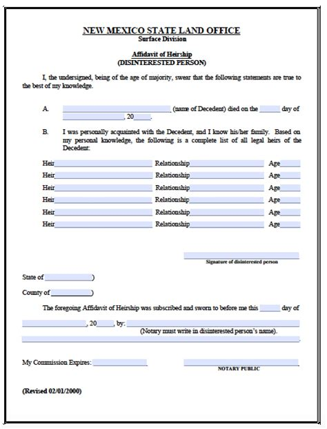 Probate Code Section 45 by Free New Mexico Small Estate Affidavit Form Pdf Word