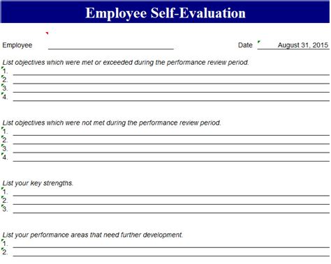 Performance Self Evaluation Template Performance Template Excel