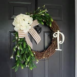 Initial Front Door Wreaths Wreath With Initial Summer Wreath Monogram Wreath For Door