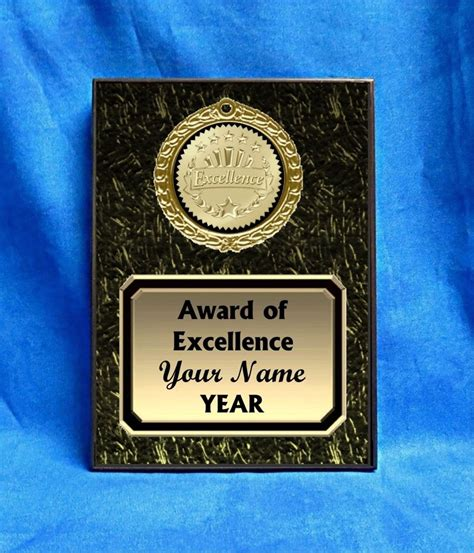 Handmade Plaques - award of excellence custom personalized award plaque gift