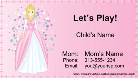 Playdate Cards Printable Template by Play Date Card Business Card