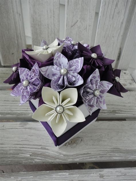 Origami Centerpieces Wedding - origami paper flower centerpiece kusudama purple