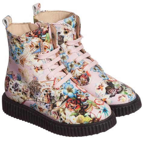roberto cavalli pink floral print leather boots