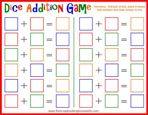 printable board games for kindergarten dice addition math game for kids free printable
