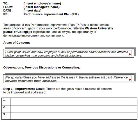 plan for improvement template sle improvement plan template 13 free documents