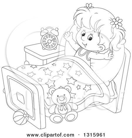 coloring page wake up outline clipart of a cartoon black and white girl
