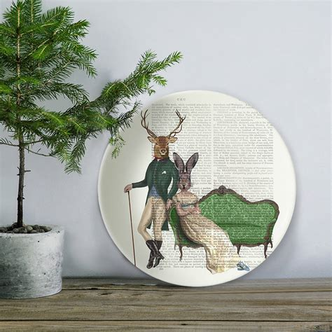deer and rabbit bone china plate by fabfunky home decor