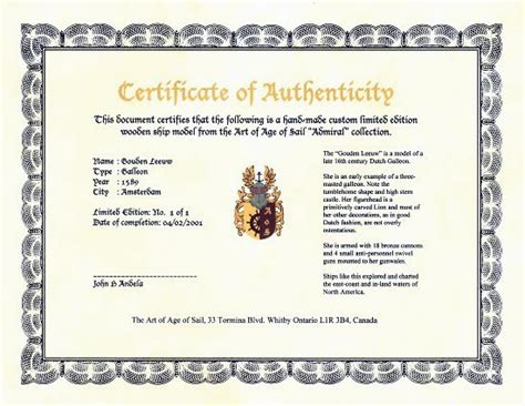 sle certificate of authenticity