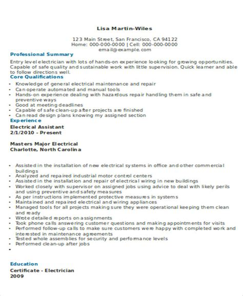 Electrician Resume Template by 10 Electrician Resume Templates Free Sle Exle