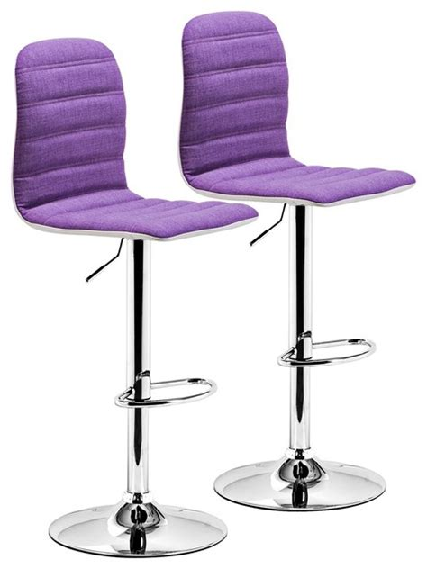 Purple Counter Height Bar Stools by Set Of 2 Zuo Logic Purple Fabric Barstool Contemporary